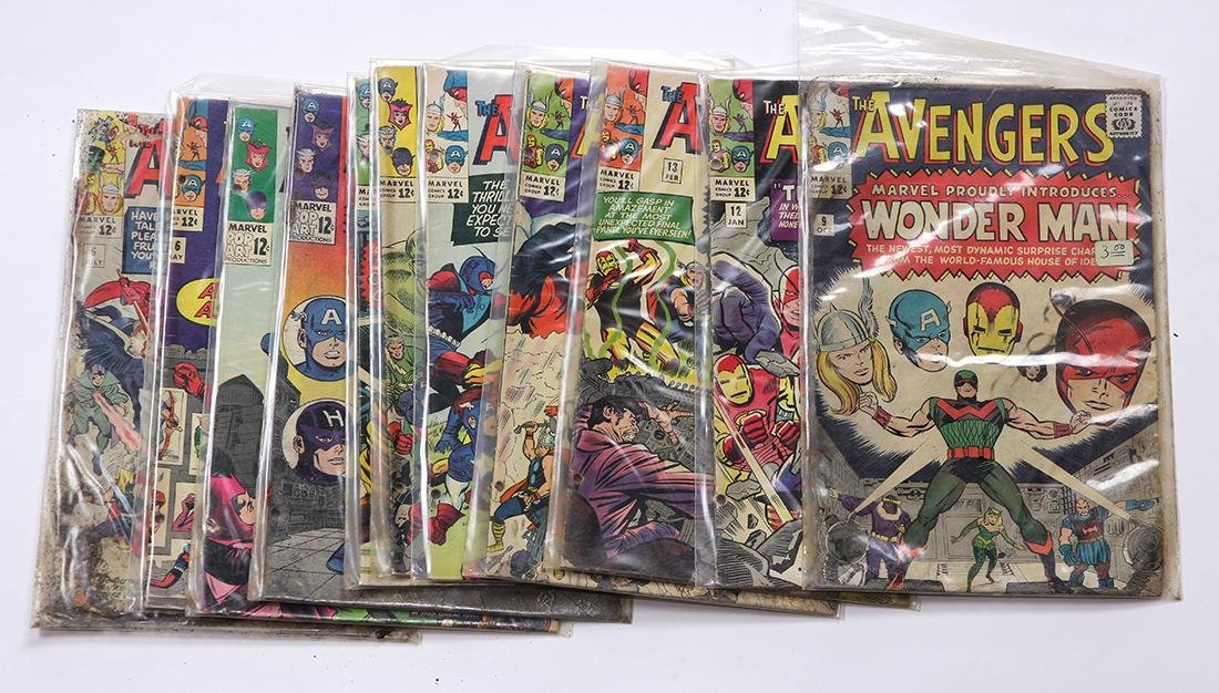(lot of 11) Avengers comic books, circa 1960s,