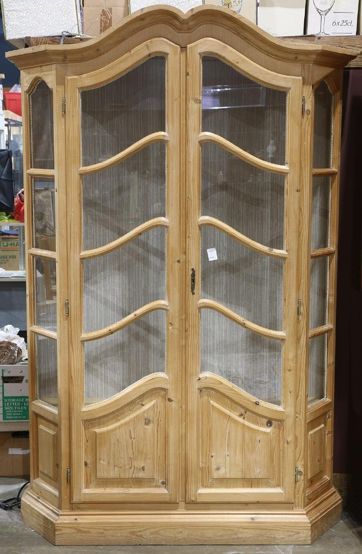 French Provincial style pine vitrine