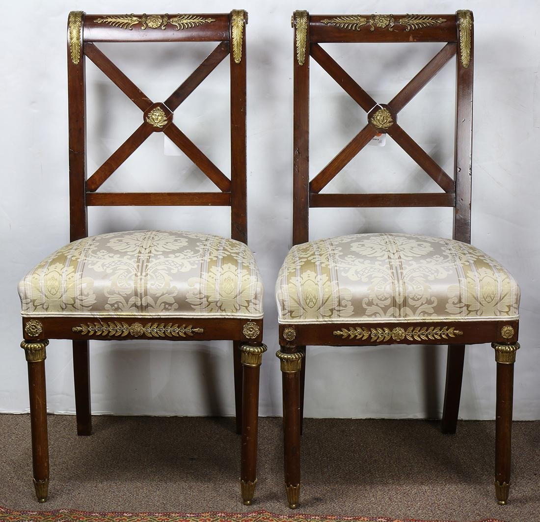 (lot of 2) French Empire partial gilt mahogany chairs,