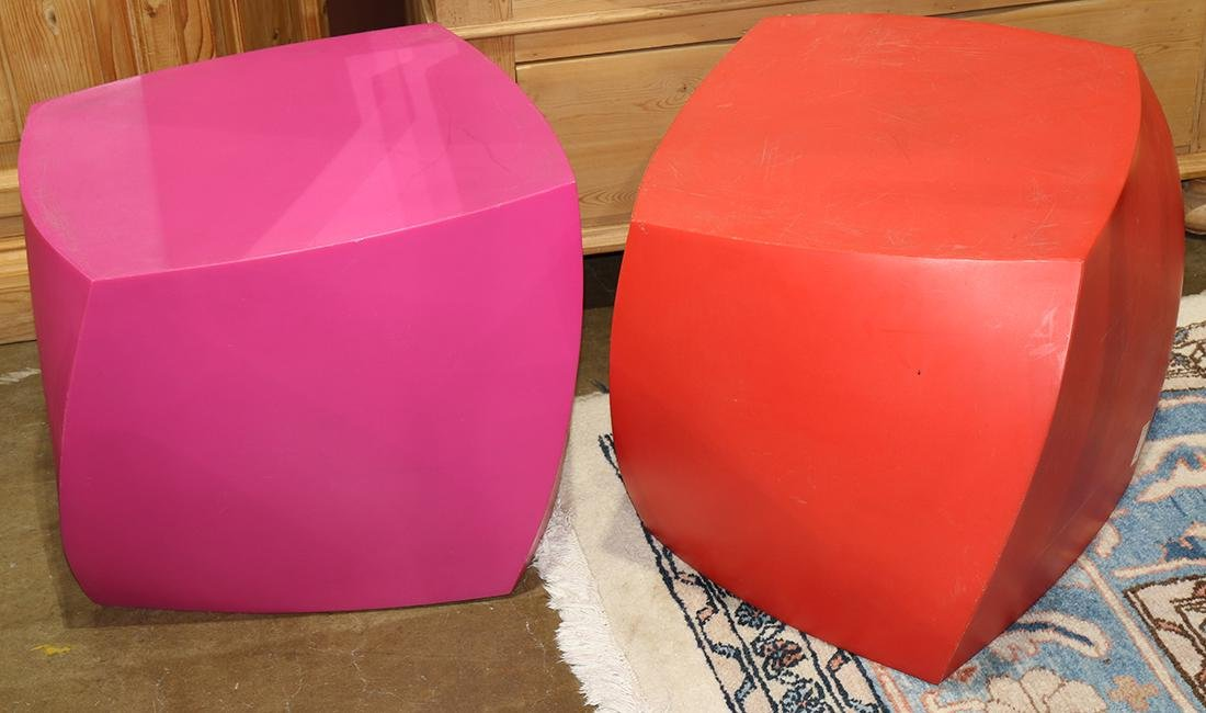 (lot of 2) Frank Gehry for Heller cube side tables