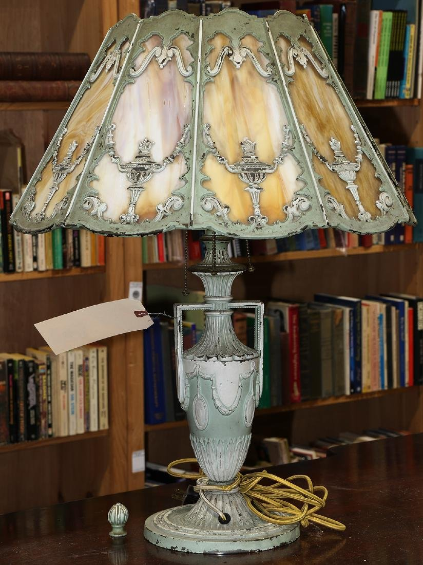 Neoclassical style slag glass table lamp