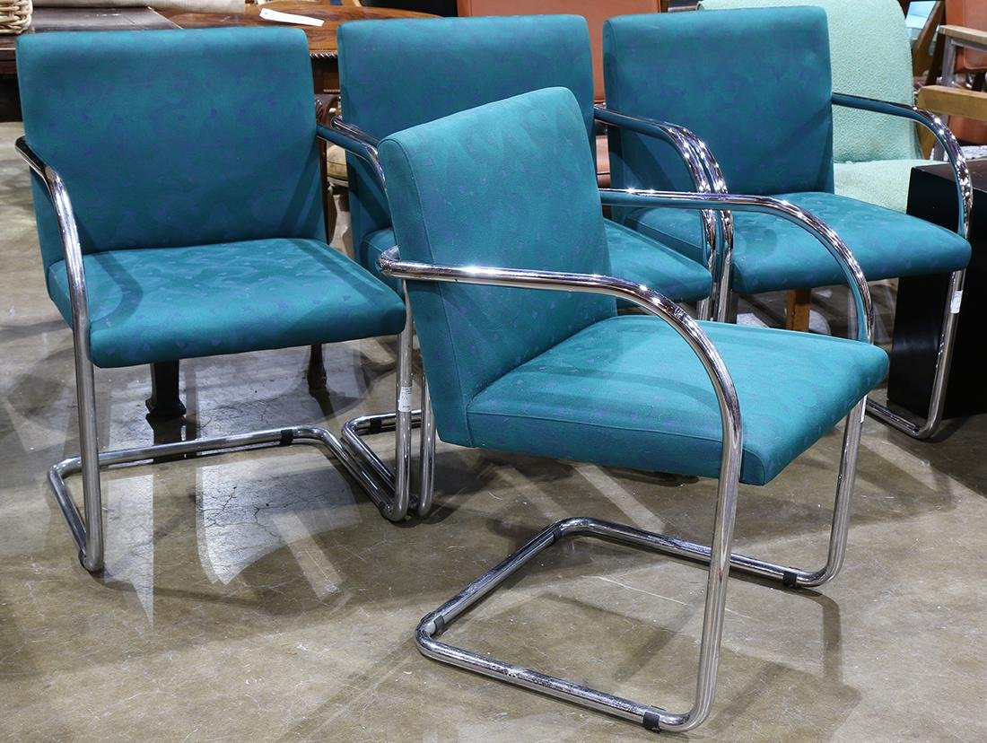 Mid Century Mies Van der Rohe style chrome chairs