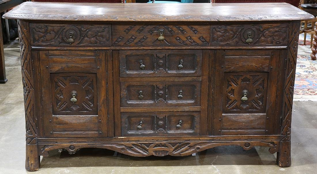 Jacobean style carved sideboard