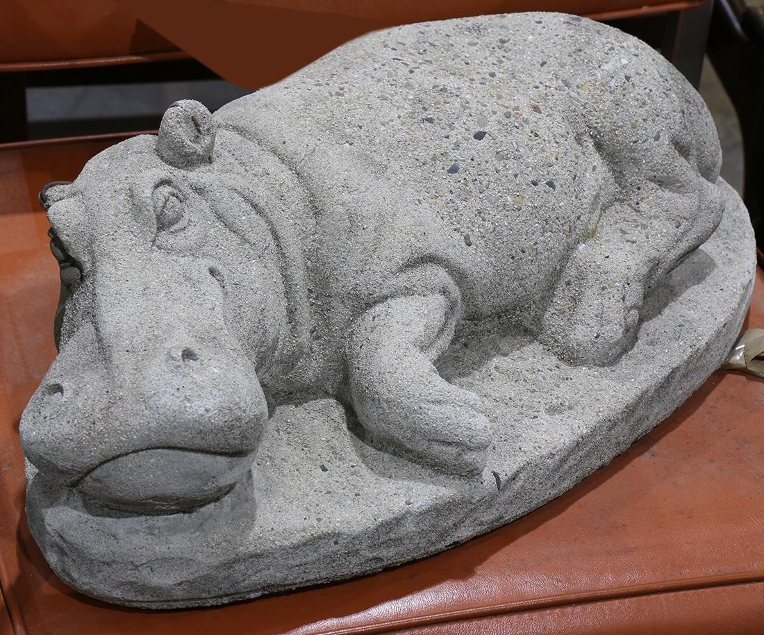 Stone figural garden sculpture