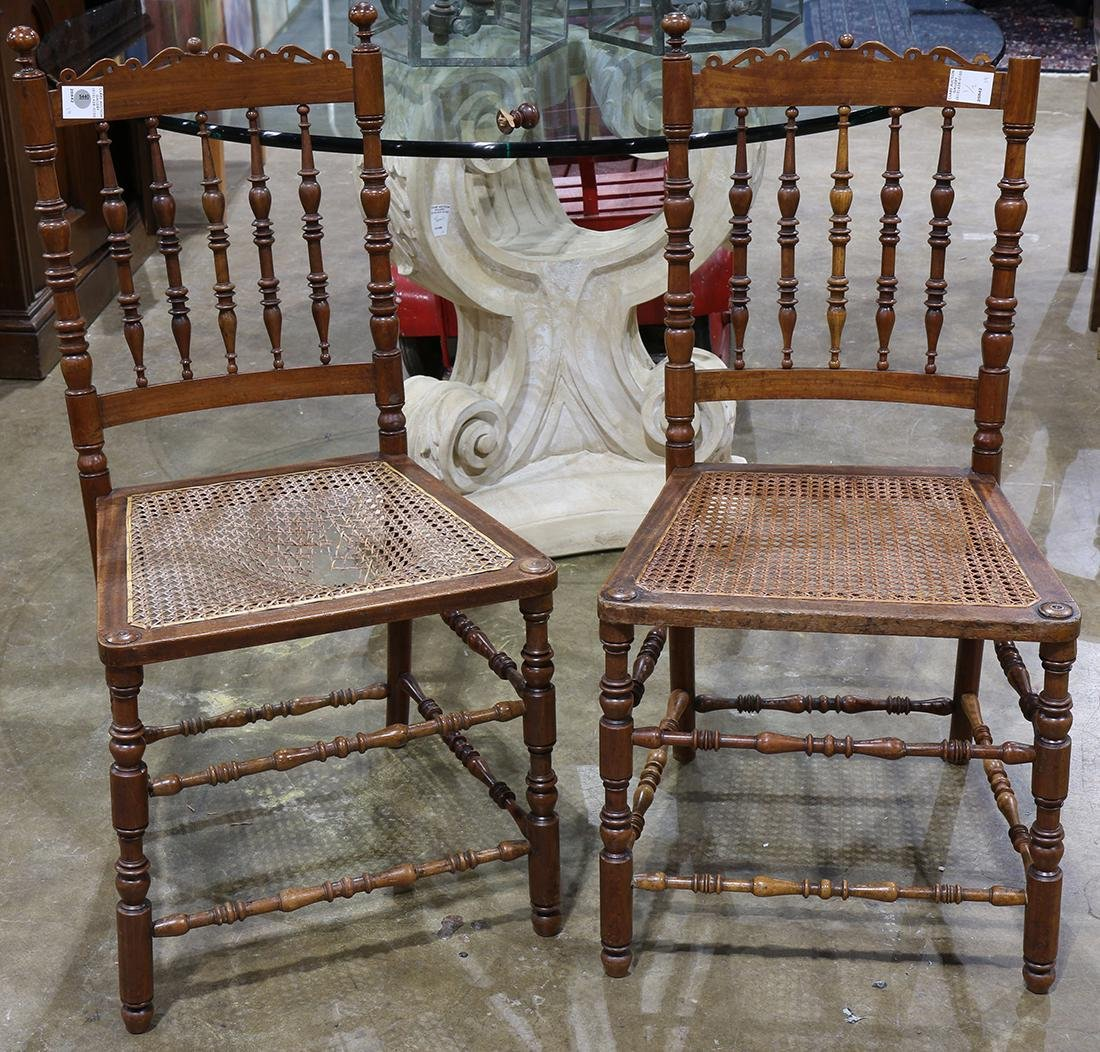 (lot of 2) Pair of Edwardian canned side chairs, the