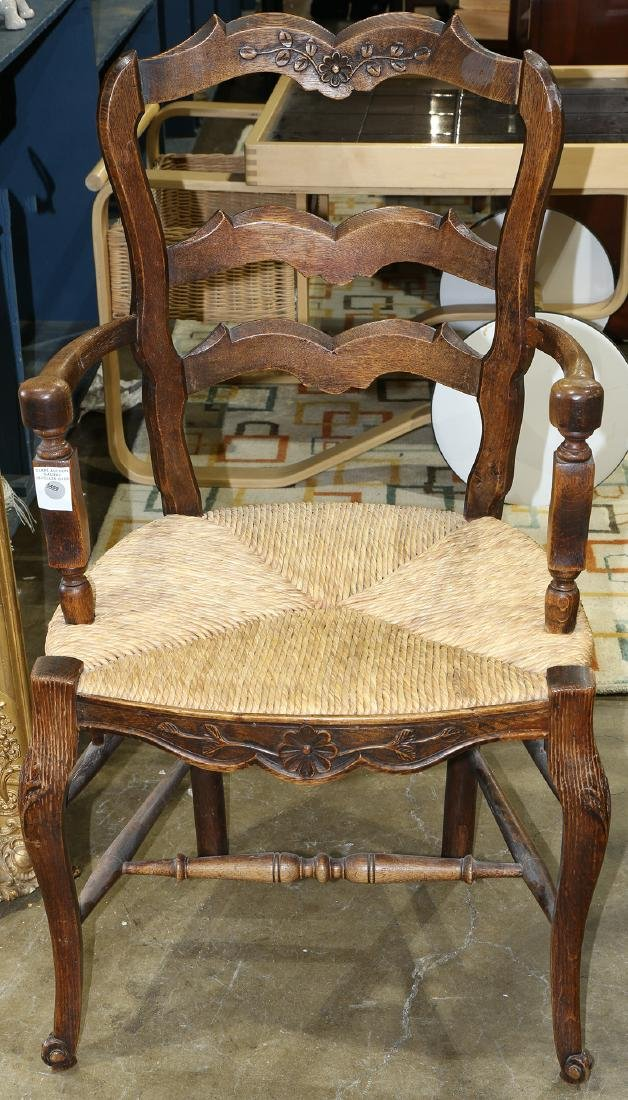 French Provincial style oak armchair