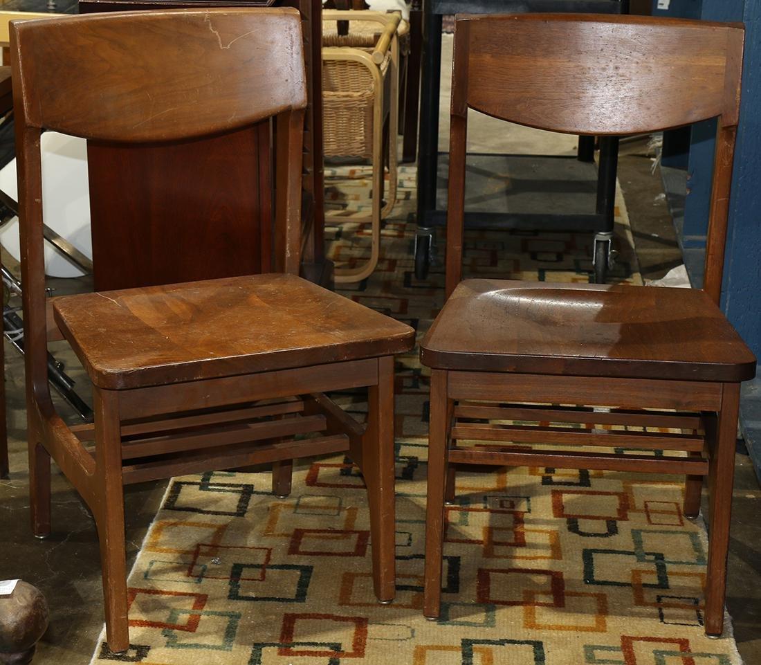 (lot of 2) Modern walnut side chairs