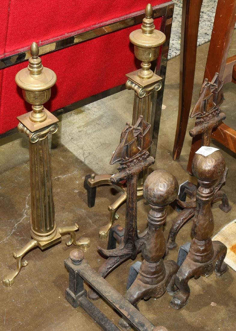 (lot of 6) Andiron group, consisting of (2) brass