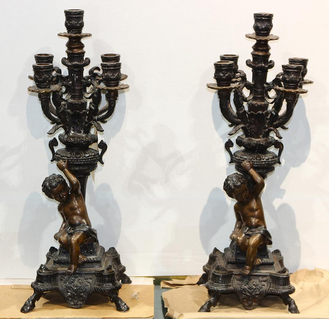 Pair of Renaissance style patinated bronze 5-light