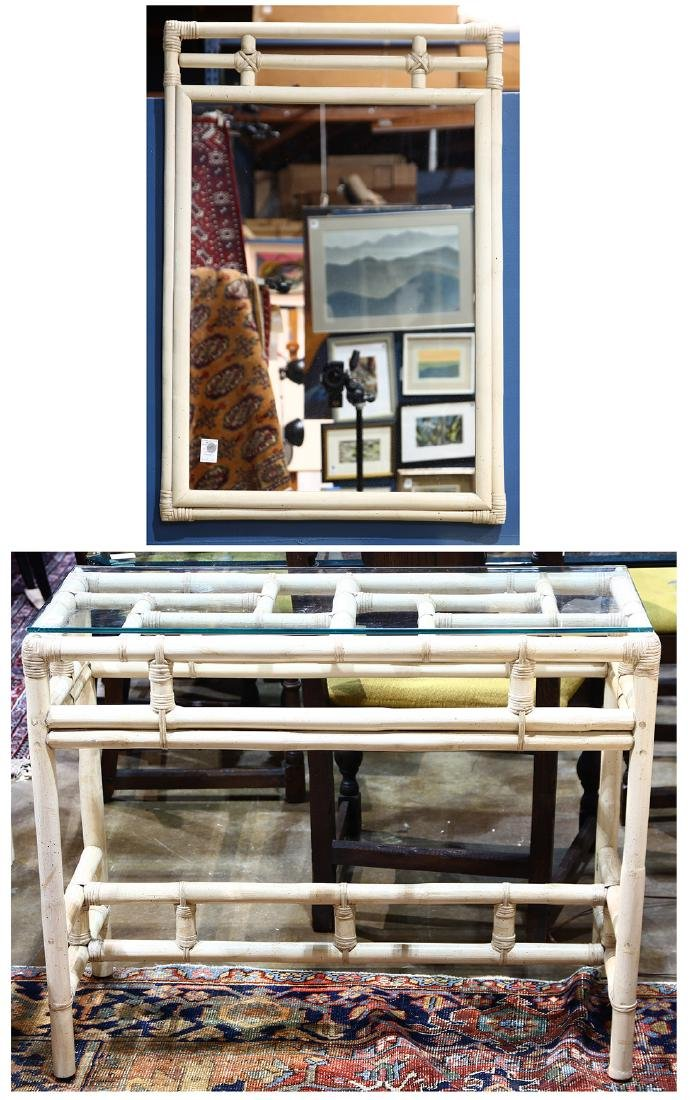 (lot of 2) McGuire style console table and mirror, the