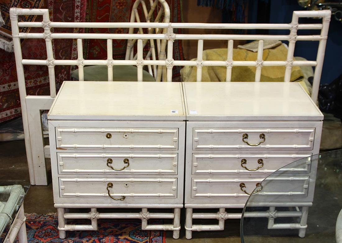 (lot of 3) McGuire style furniture group, consisting of