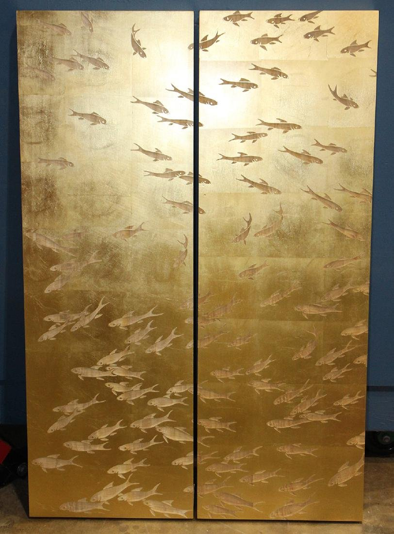 Pair of modern Asian style gilt carved wall panels,