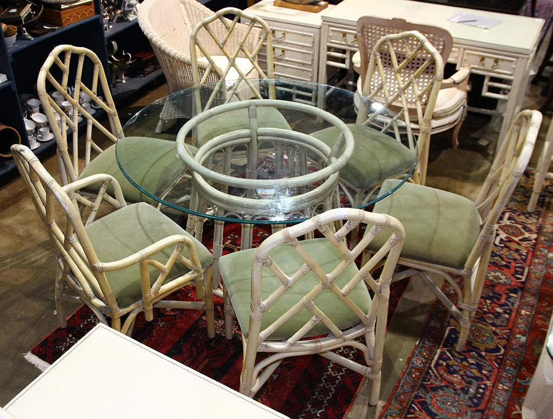 (lot of 7) McGuire style dining group, consisting of a