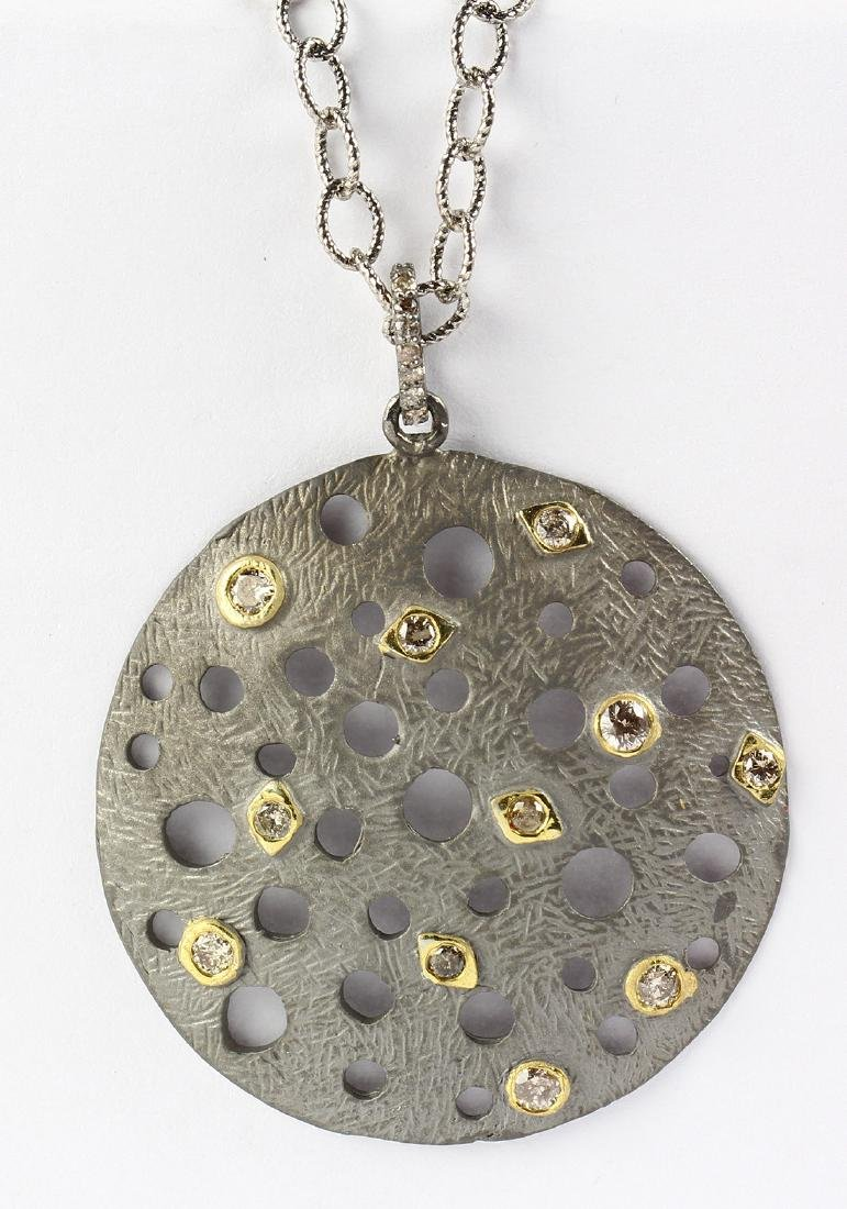 Diamond, silver and gilt pendant-necklace