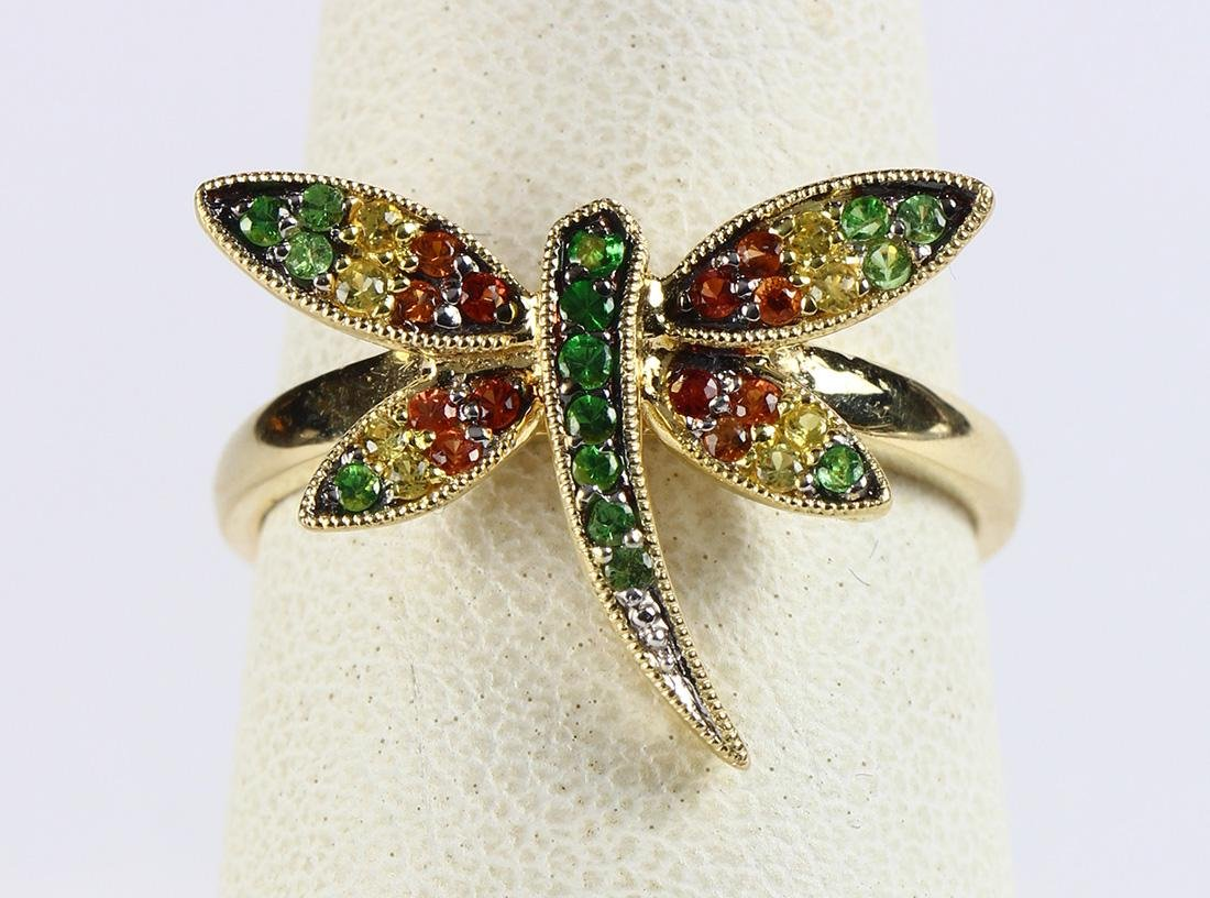Sapphire and 14k yellow gold dragonfly ring