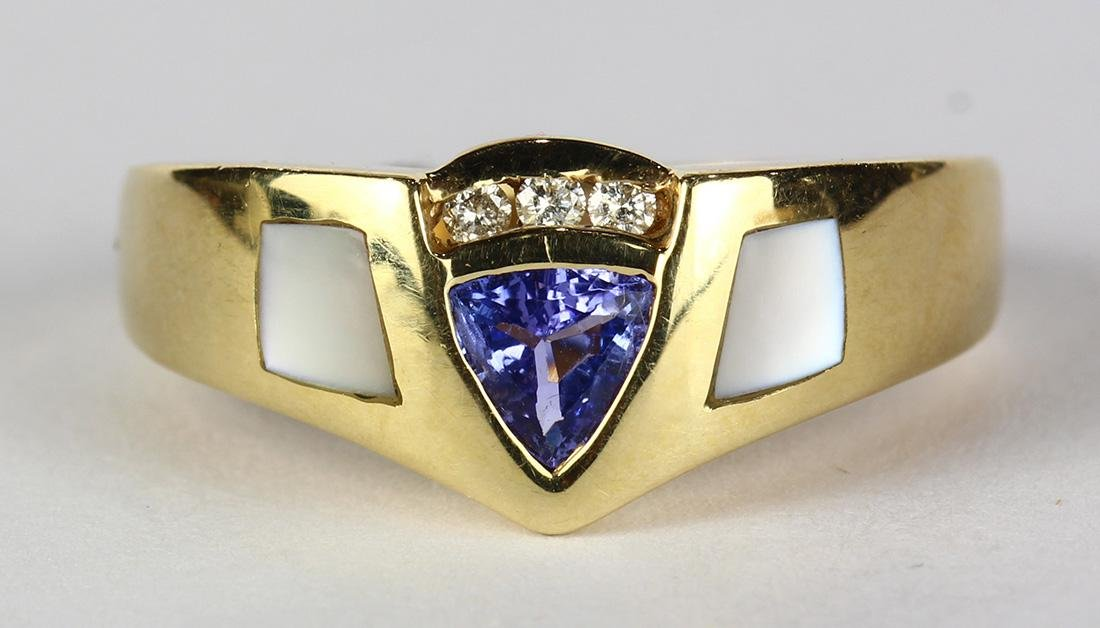 Tanzanite, mother-of-pearl, diamond and 14k yellow gold
