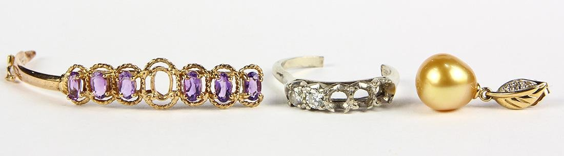 (Lot of 4) Diamond, amethyst and gold jewelry