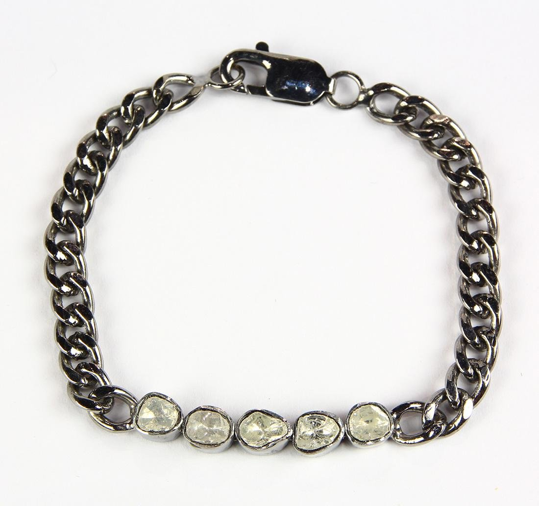 Diamond and sterling silver bracelet