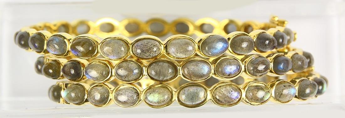 (Lot of 3) Labradorite and silver gilt bracelets