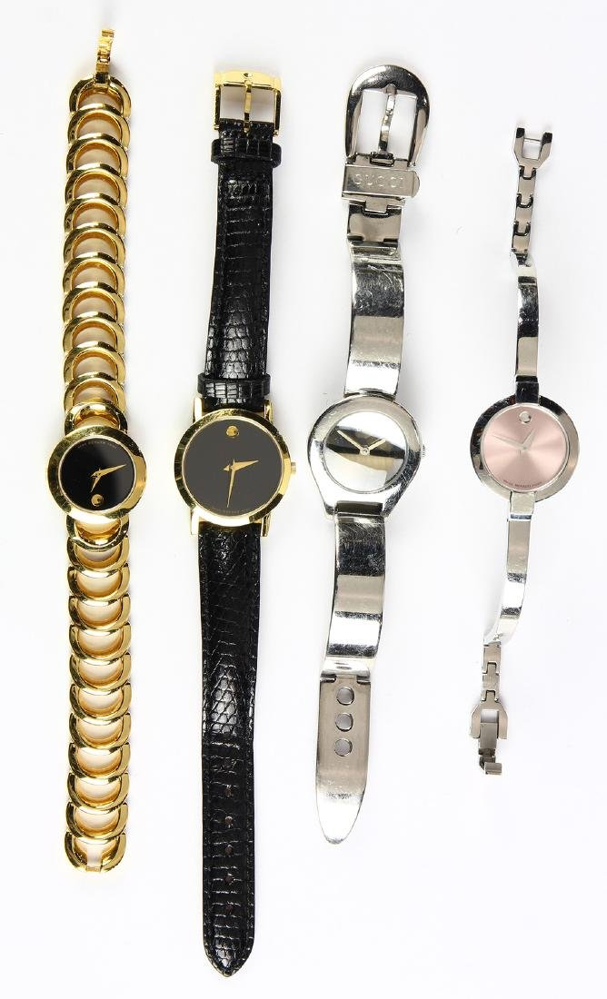 (Lot of 4) Movado and Gucci metal watches
