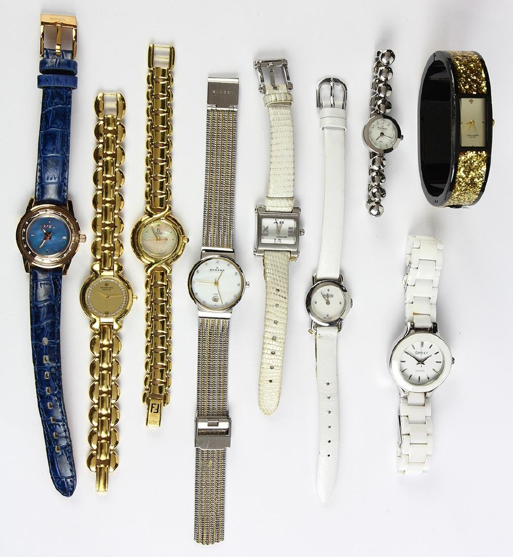 (Lot of 9) Lady's metal wristwatches