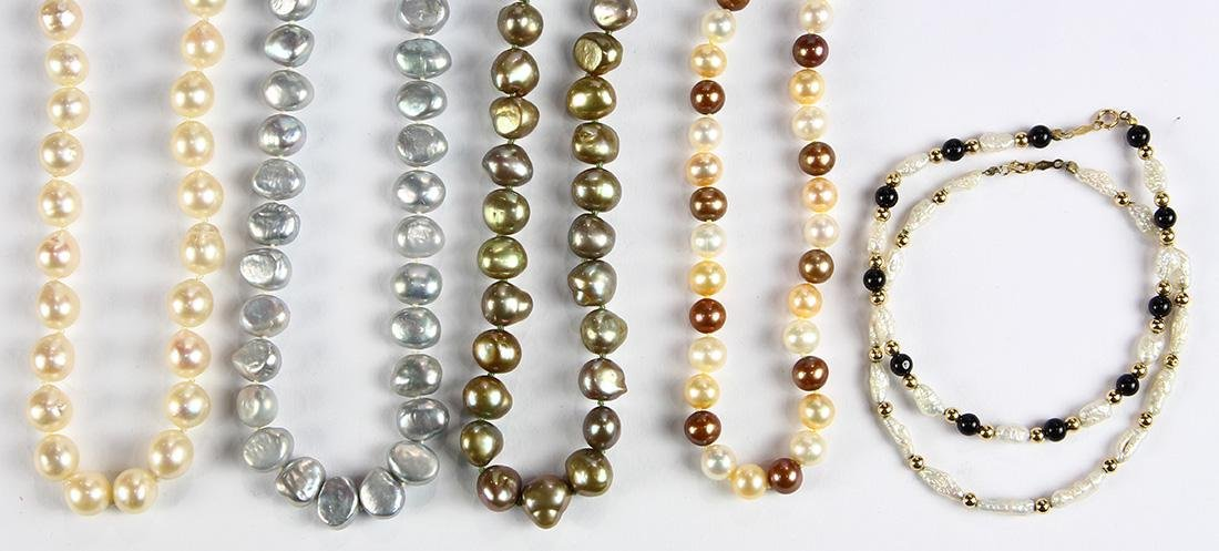 (Lot of 6) Cultured pearl, 14k gold and metal jewelry