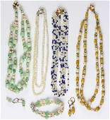 Collection of multistone cultured pearl gold and