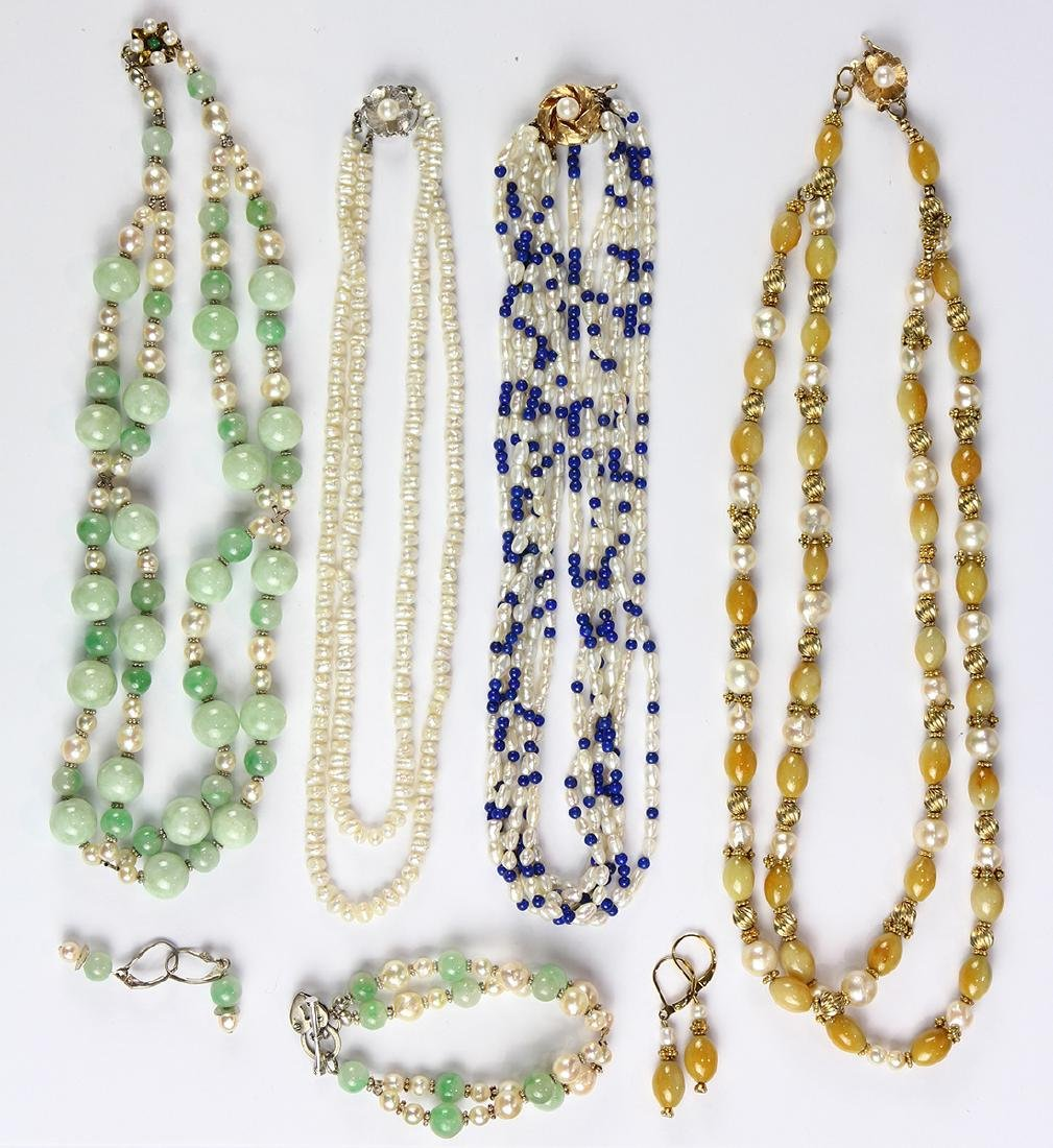 Collection of multi-stone, cultured pearl, gold and