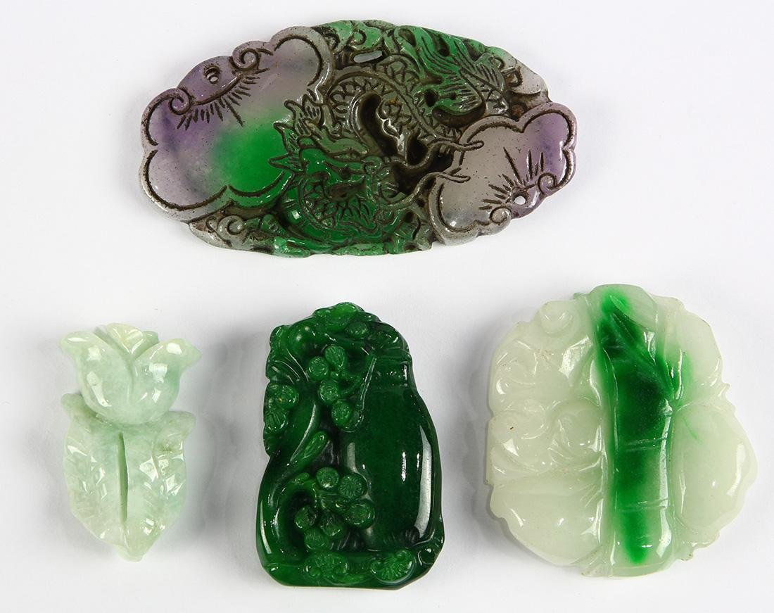 (Lot of 4) Carved jade