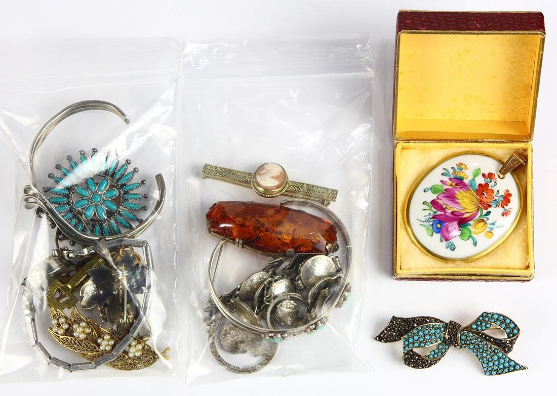 Collection of multi-stone, silver, metal jewelry and a