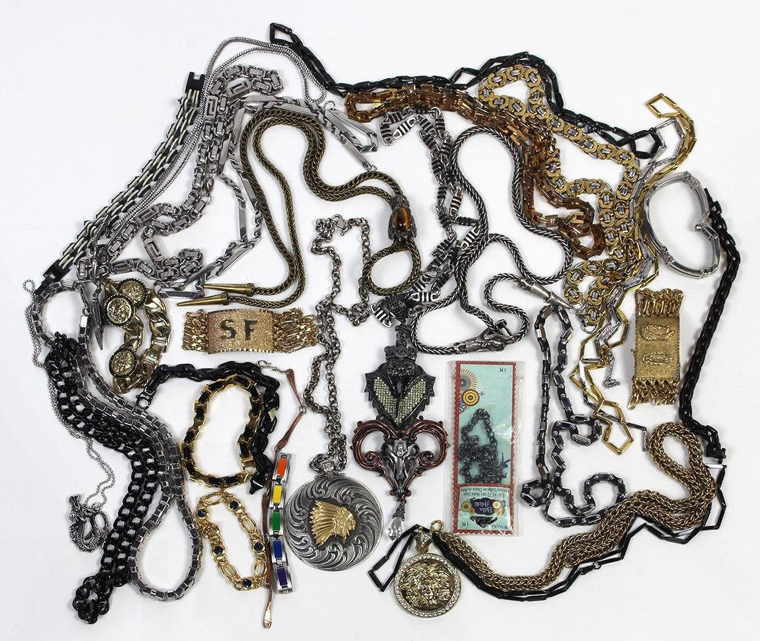 Collection of costume jewelry and chains