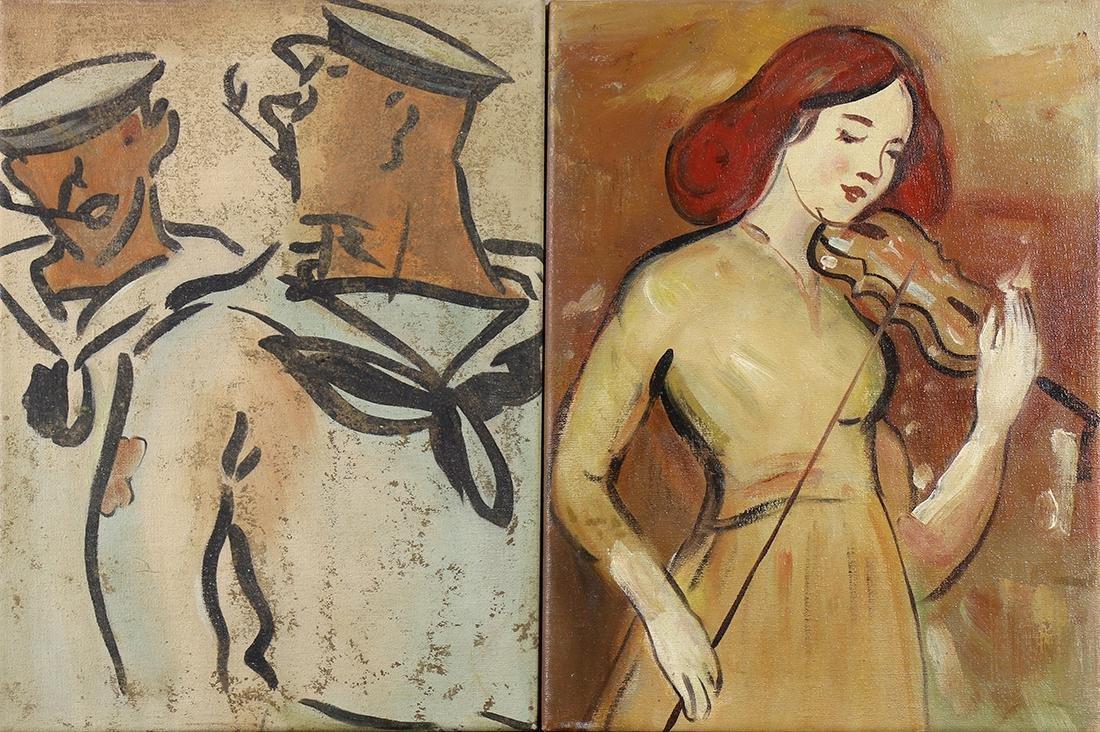 Painting, Lady Playing Violin & Sailors