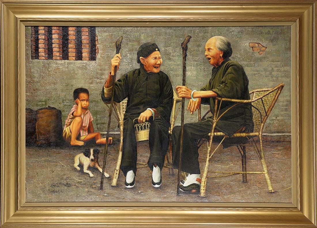 Painting, Street Scene with Chinese Figures