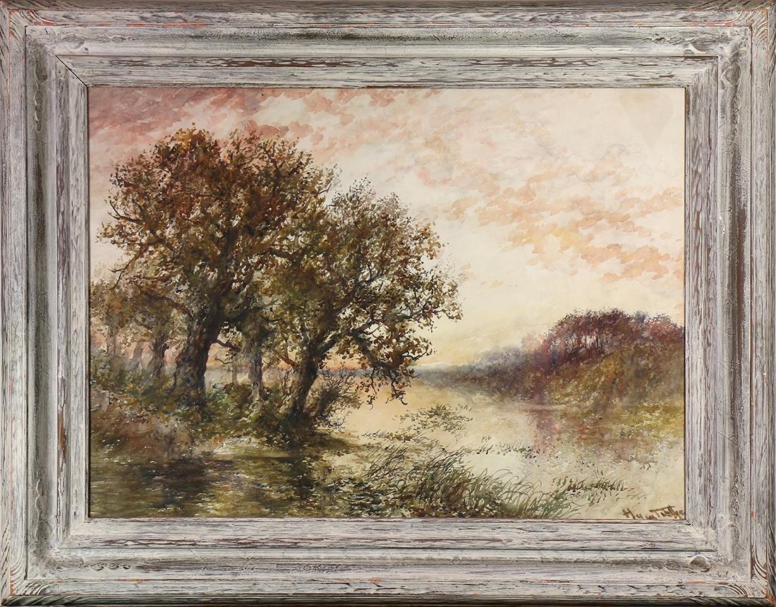 Watercolor, Misty Lake Scene