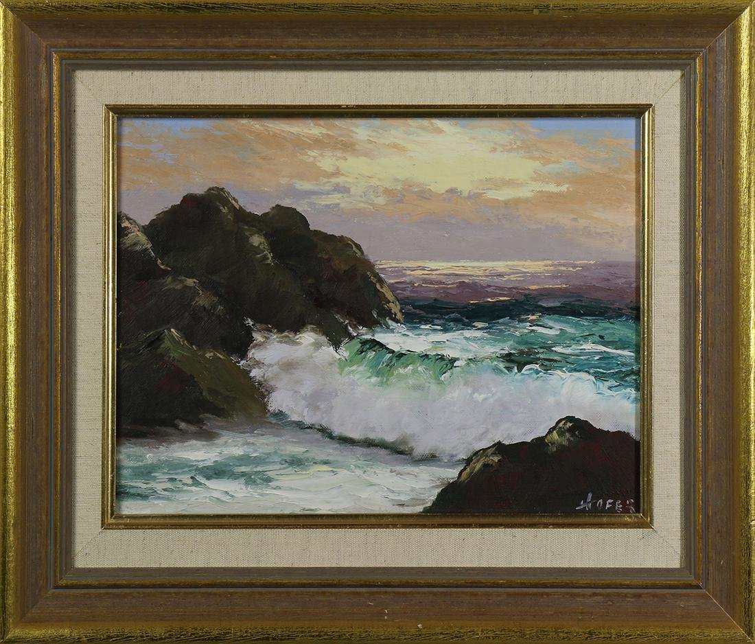 Painting, Crashing Waves at Sunset