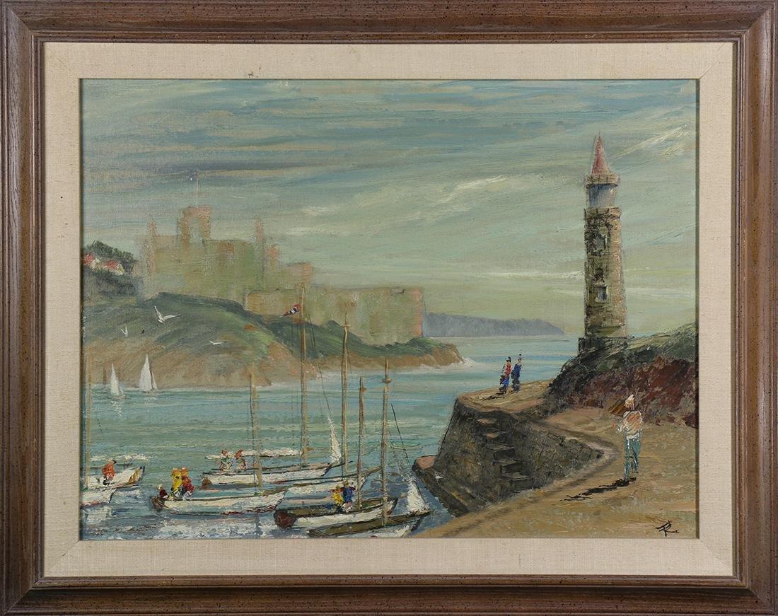 Painting, Mediterranean Harbor Scene