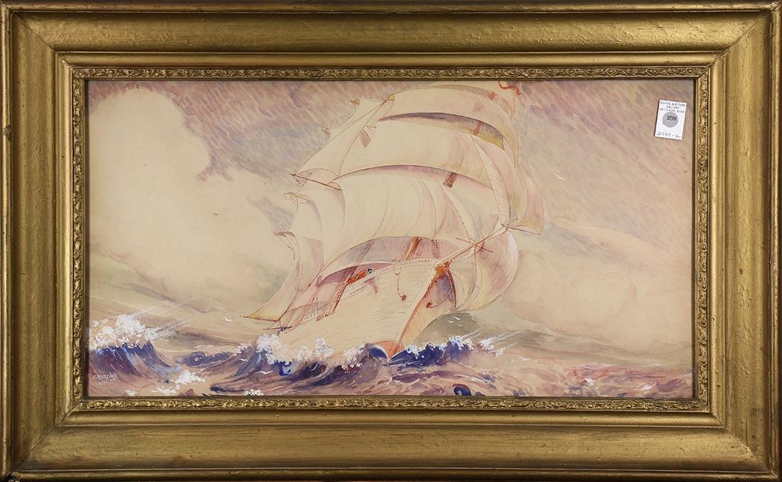 Sailing Ships, 1924, watercolor