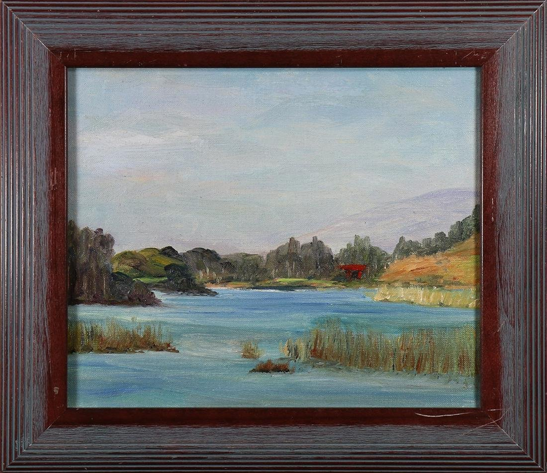 Painting, Red Cabin on a Lake