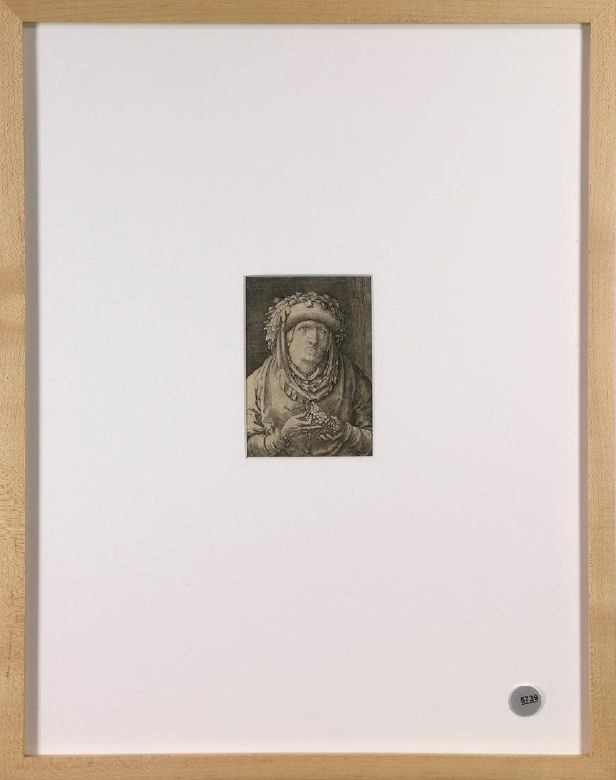 Print, Lucas van Leyden, Old Woman with Grapes