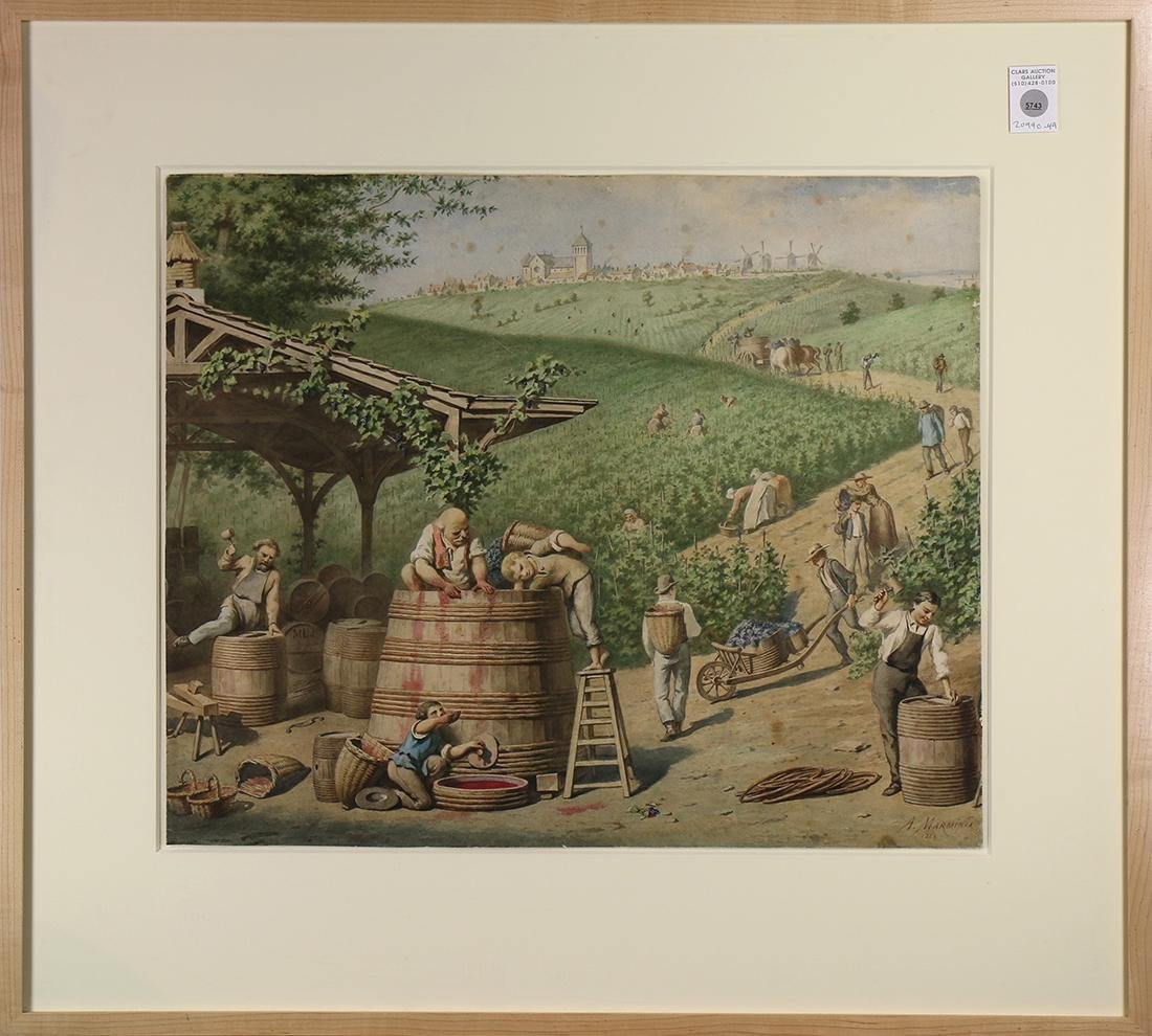Work on Paper, Grape Harvest in the Vineyards Above the