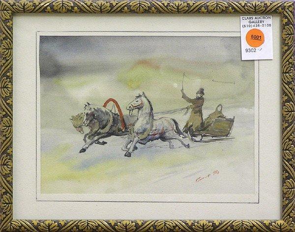 6001: Watercolor Russian winter landscape