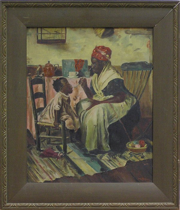 6006: Painting mother child genre American