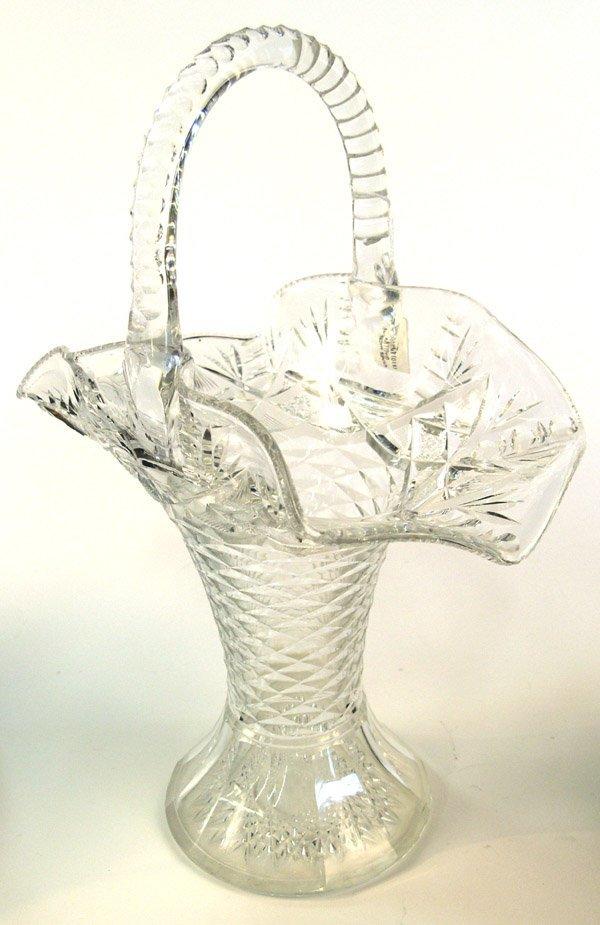 6016: American cut glass bridal basket Hawkes