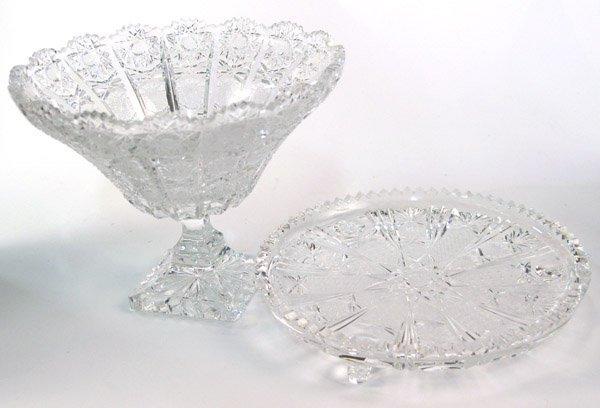 6021: American brilliant cut glass compote
