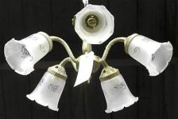 6225 Brass five light chandelier