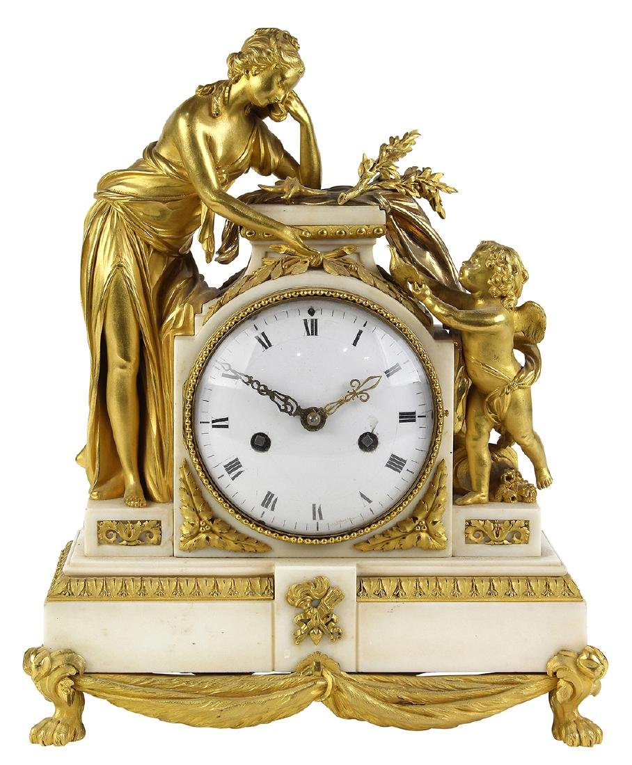 French ormolu mounted clock, the well cast case