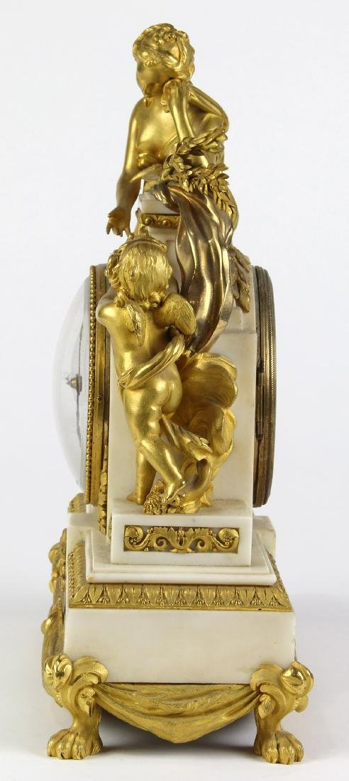 French ormolu mounted clock, the well cast case - 4