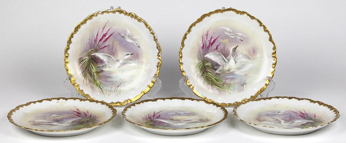 (lot of 5) Limoges porcelain game plates