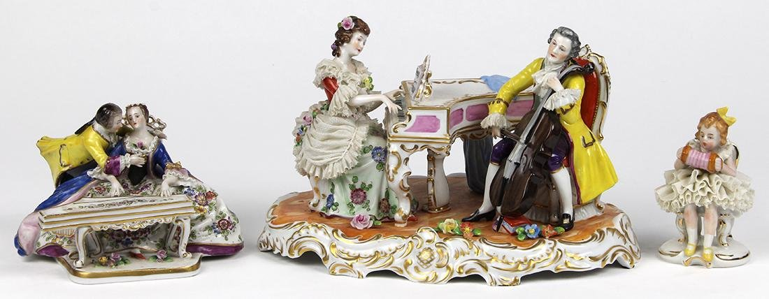 (lot of 3) Continental porcelain figural groups