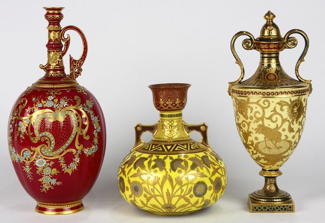 (lot of 3) Royal Crown Derby porcelain group,